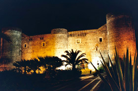 Ursino Castle at night