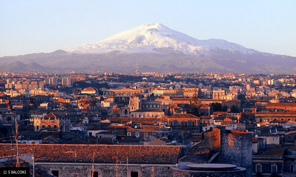 View of Catania and Etna from our rooftop